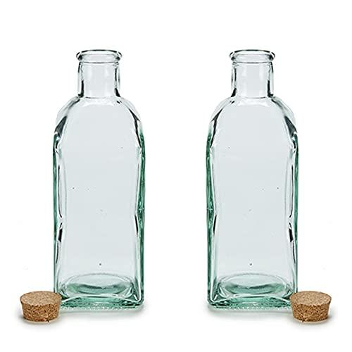Pack 2x Botella rellenable de 1L de capacidad, elaborada en cristal grueso reciclado con cierre hermético de corcho natural, decoración. Fácil de limpiar