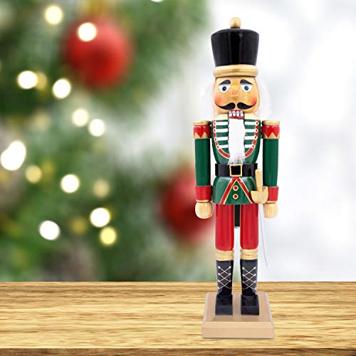 The Christmas Workshop 81560 Wooden Nutcracker 50cm Tall | Multi-Coloured Soldier On Stand | Christmas Decorations, Wood