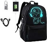 Anime di moda zaino, Impermeabile Ragazzi Borse Scuola Luminoso con Porta di Ricarica USB Lock Antifurto Viaggio Zaino Cool Tela Backpack Unisex Laptop grande capacità Daypack e Sacchetto a matita