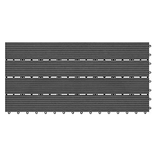 YUNSHAO Piastrelle da Terrazzo WPC Piastrelle di Plastica Click Tiles Look Wood with System, 30x60cm Piastrelle per Piastrelle per Piastrelle Filtrabili 30x60cm Tavole per Giardino Balcone Terrazza