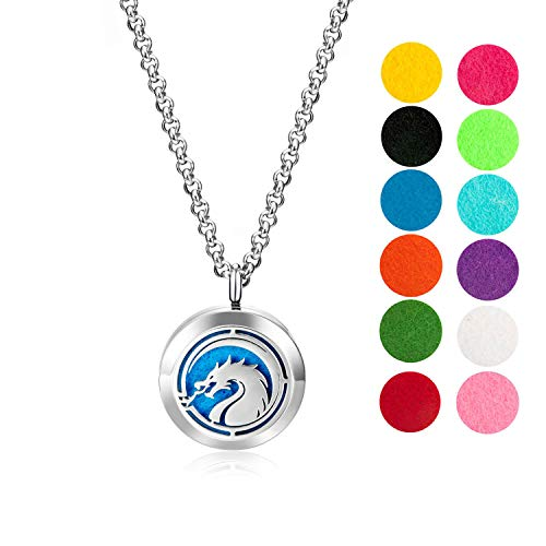 "Wild Essentials Fire Dragon Essential Oil Diffuser Necklace Gift Set - Includes Aromatherapy Pendant, 24"" Stainless Steel Chain, Refill Pads"