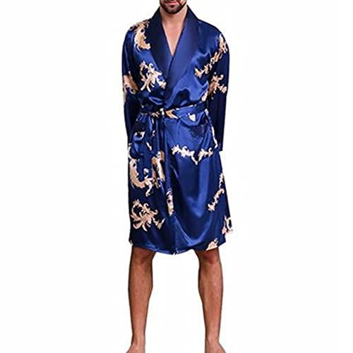 DEWUFAFA Hombres Albornoz Pijama Silk Robe Thin Satin Longseleeved (Color : Blue Print, Size : XXXX-Large)