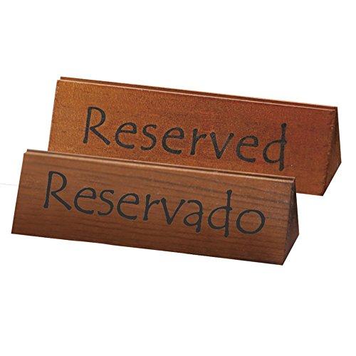García de Pou Letreros de Mesa Reservado/Reserved, Madera, Natural, 15 x 4.4 x 4.4 cm, 10 Unidades