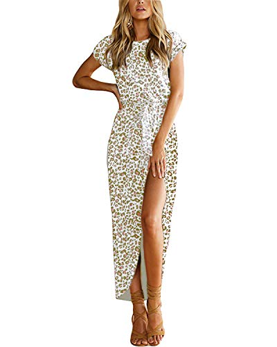 YOINS Sommerkleid Damen Lang Maxikleider für Damen Strandkleid Sexy Kleid Kurzarm Jerseykleider Strickkleider Rundhals mit Gürtel Leopard-rosa L