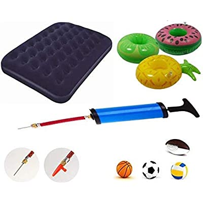 Pump Adaptor Kit 7 Pieces Set Needle Valve Inflator Flexible Air Hose Extension Nozzle Connectors for All Type Balls Tyres Inflatable Toys Air Beds Gym Exercise Balls Balloons Most Compressors