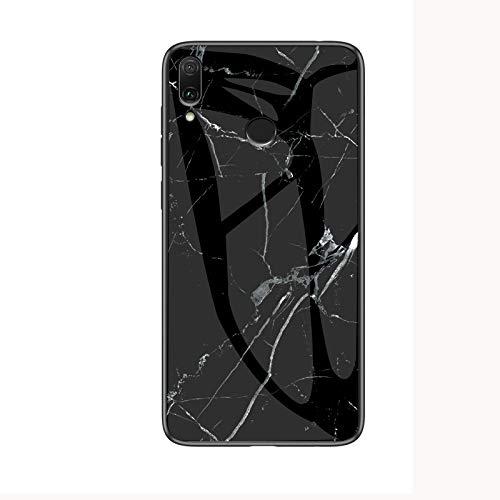 COVO® Funda para Xiaomi Redmi Note 7 Marmol Case Tapa Trasera de Cristal Templado con TPU Edge Carcasa para Xiaomi Redmi Note 7 (Blanco Negro)