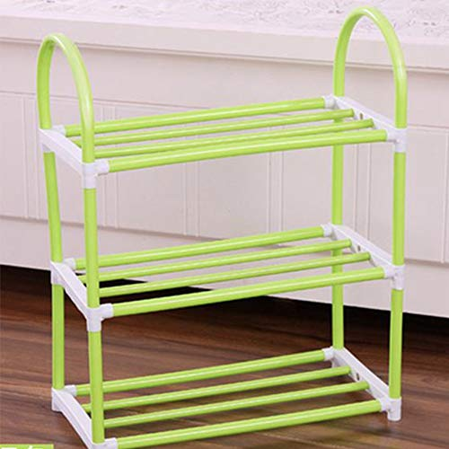 LederleiterEU Schuhregal Schuhschrank Schuhablage mit 3 Ebenen, kleine Schuhablage Diele, Wohnzimmer, Industrie-Design 41.5 * 20 * 49CM Grün