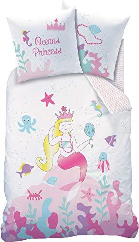 Parure de lit Mermaid pour enfant - Housse de couette 135 x 200 cm et taie d'oreiller 80 x 80 cm - Ocean Princess Ocean Girl - 100 % coton