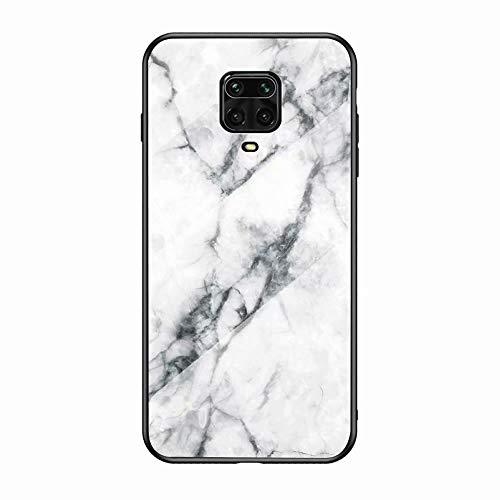 Miagon Glas Handyhülle für Xiaomi Redmi Note 9 Pro,Marmor Serie 9H Panzerglas Rückseite mit Weicher Silikon Rahmen Kratzresistent Bumper Hülle für Xiaomi Redmi Note 9 Pro,Weiß