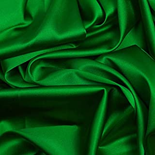 """mds Pack of 10 Yard Charmeuse Bridal Solid Satin Fabric for Wedding Dress Fashion Crafts Costumes Decorations Silky Satin 44"""" Green"""
