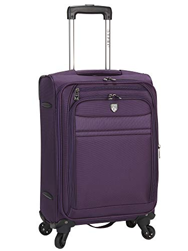 Travelers Club Business Class Expandable Spinner Luggage, Premium Purple, Carry-On 20 Inch