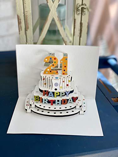 Forever Handmade Cards Pop Ups POP06-21st Birthday - Laser Cut Pop Up Card