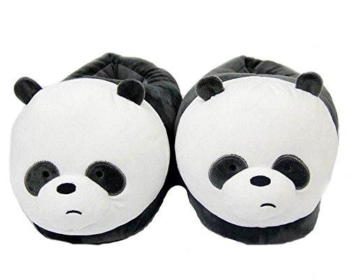 Pantofole Ciabatte Invernali Antiscivolo peluches Animali Kigurumi Imbottite Scarpe Morbido da Carnevale-Large(39-45)-Panda2
