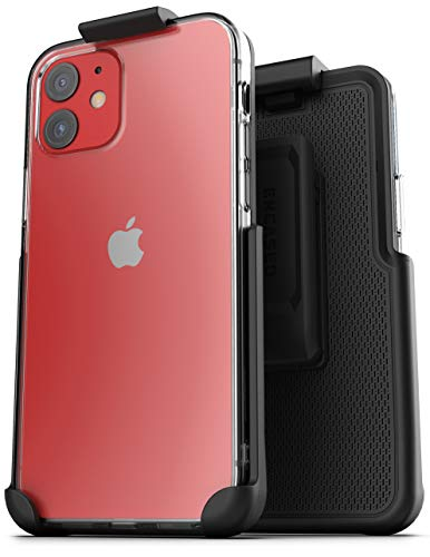 Encased Clear Back Case with Holster Compatible with iPhone 12 Belt Clip Cover Protective Slim Bumper