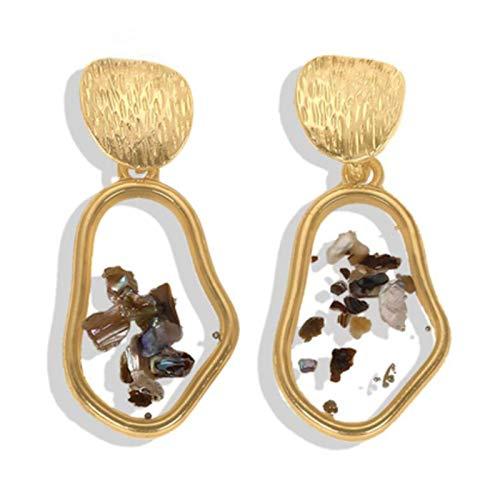 QIN Metal pendant earrings irregular round shell acrylic earrings women's wedding jewelry new year gift
