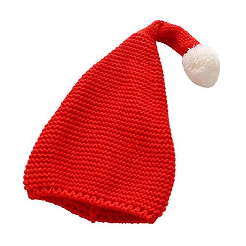 STOBOK Weihnachten Strickmütze Babymütze Baby Mädchen Mütze Weihnachtsmütze Weihnachtshüte Wintermütze mit Bommel für Mädchen Jungen Kinder (rot)