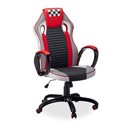 Relaxdays Silla Gaming Speed Racing, Piel Sintetica, Rojo, 123 x 67 x 67 cm