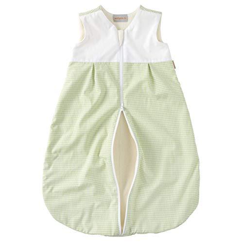 wellyou, Kinder-Baby-Schlafsack, mit Fleece gefüttert, grün-weiß Vichykaro, für Mädchen und Jungen, Größe 74-98