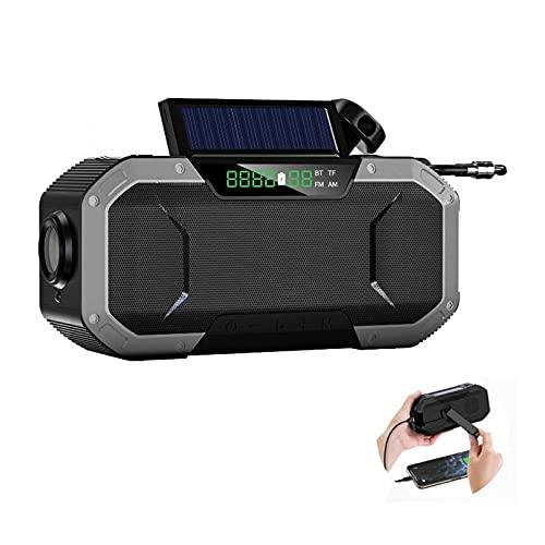 Solar Radio Am/FM/NOAA Radio De Manivela Radio De Emergencia Recargable USB Portátil con Banco De Energía De 5000 MAh Linterna LED Alarma SOS Y Luz De Lectura para Camping Viajes por (Color : Gray)