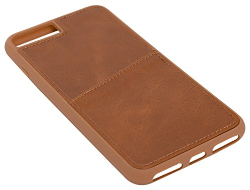 Gusti Handyhülle Leder - Dan IPhone 8 Plus Softcase Hülle Echtleder Kartenfach Back Cover Lederhülle Schutzhülle Braun Leder
