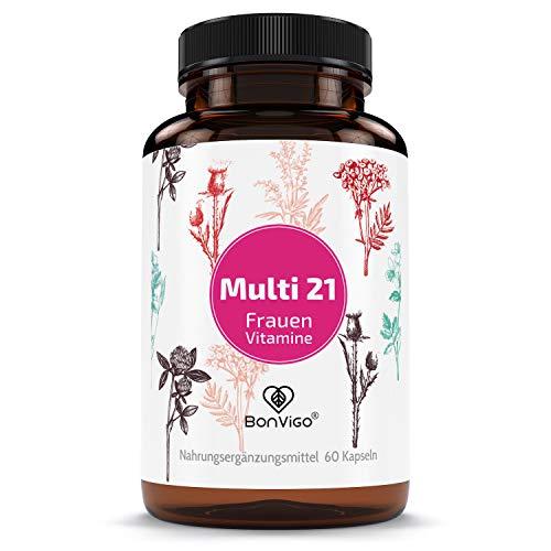 BonVigo Multi 21 Frauen Vitamine - 21 Stoffe mit offiziell bestätigter Wirkung auf 45 Körperfunktionen - Vitamine A-Z u.a. mit Selen für Schilddrüse, Chrom für Blutzucker - Vegane Kapseln jodfrei