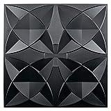 Art3d Decorative Ceiling Tile 2x2 Glue up, Suspended Ceiling Tile Pack of 48pcs Black Floral