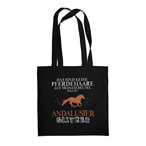 Fashionalarm Stoffbeutel - Das sind Keine Pferdehaare - Andalusier Glitzer | Fun Beutel Baumwoll-Tasche Spruch Geschenk Pferde-Liebhaber Reiten, Schwarz One Size