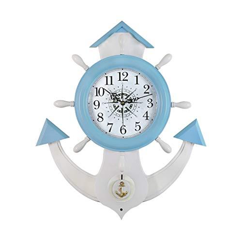 WEIJINGRIHUA Creativo Reloj Mediterráneo Silencioso Sala De Estar Reloj De Pared De Columpio Grande Reloj De Cuarzo Rural