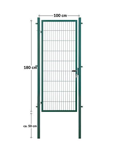 Koll Living Gartentore für Stabmattenzaun - Farbe und Höhe wählbar - inkl. Pfosten und Befestigungsmaterial (Gartentor H 180 x B 100 cm, grün)