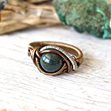 Handmade Raw Natural Bloodstone Ring - Men's and Women's Crystal Flow Jewelry - March Birthstone - Size 8