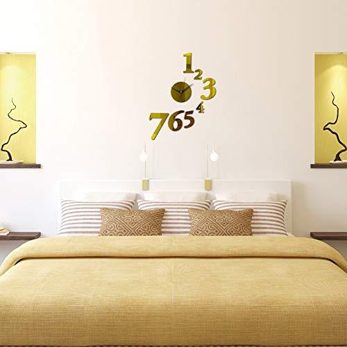 HDNFW Reloj de Pared 3D Reloj de Pared de Espejo de acrílico Real de decoración de hogar de Cuarzo Real Relojes de Arte Antiguo para Venta de Dormitorio 3D Diy-37inch