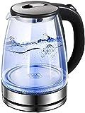 Gymqian Acero Teteras Electric Glass 1.7L Iluminado con Led Azul Caldera de Acero Hervidor 1500W Rápida Hervir sin Cable Hervidor Eléctrico con Función de Apagado Automático regalo
