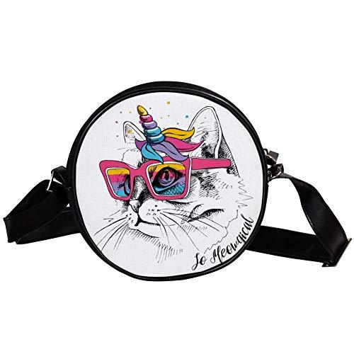 Yoliveya Zubehör-Umhängetasche, Unisex, Erwachsene, modisch, leicht, Schultertasche, Messenger-Tasche, Segeltuch, Hüfttasche, Regenbogen-Brille, Mähne, Horn