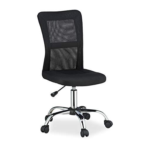 Relaxdays Bürostuhl, höhenverstellbar, ergonomisch, Rollen, Gasdruckfeder, Netzrücken, 90 kg, Schreibtischstuhl, schwarz