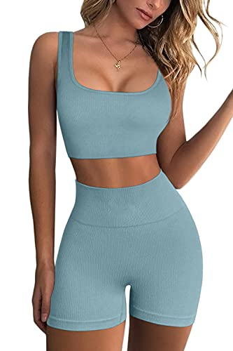 FAFOFA Yoga Shorts for Women Seamless Scoop Neck Padded Workout Bra Bodycon Booty Short Blue L