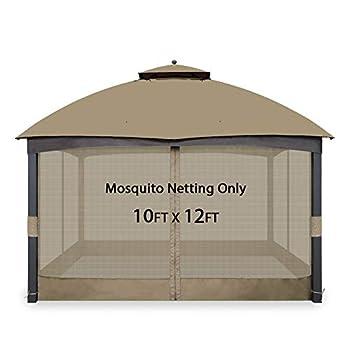Gafrem Universal Gazebo Replacement Mosquito Netting Adjustable Screen Walls for 10 x10  or 10 x12  Gazebo Canopy  Light Khaki 10x12 Feet