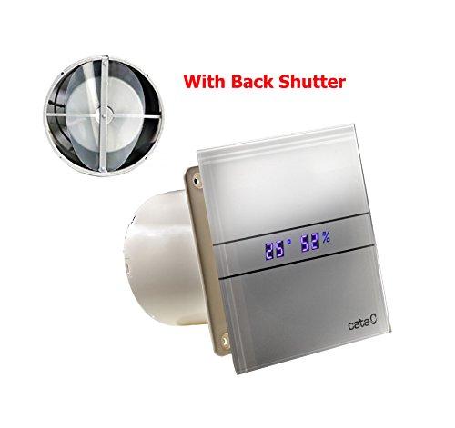Ventilator Lüfter CATA E-100 GTH incl. Rückschlagklappe !!! Timer Nachlauf Feuchtesteuerung, Feuchtesensor LED – Display, Glasfront stark 115 m3/h sehr leise 31dB energiesparend 8W Kugellager