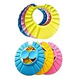 NUOBESTY 6pcs Baby Duschhaube Shampooschutz Kopfhaube Wasser Spritzschutz Shampoo Augenschutz für Kleinkind Kinder(Rosa Blau Gelb)