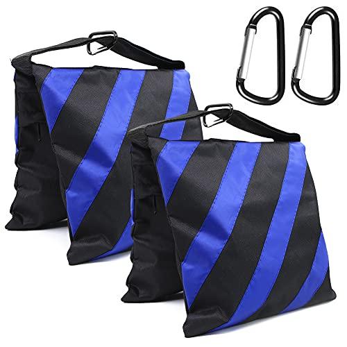 Sandbags per fotografia, Heavy Duty vuoto Sandbag per studio fotografico, supporto luce braccio braccio fotocamera treppiede con moschettone, confezione da 2 (blu)