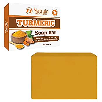 Turmeric Soap Bar for Face & Body - All Natural Turmeric Skin Lightening Soap - Turmeric Face Soap Reduces Acne Fades Scars & Brightens Skin - 4 Oz Turmeric Bar Soap for All Skin Types Made in USA