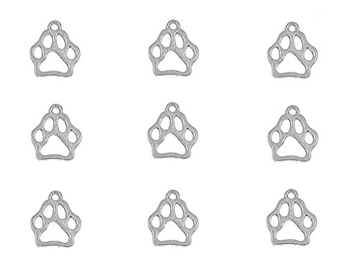 50pcs Dog Paw Print Pet Charm Alloy Doggy Puppy Cat Animal Footprint Pendant for DIY Necklace Bracelet Jewelry Making Findings(Antique Silver Tone)