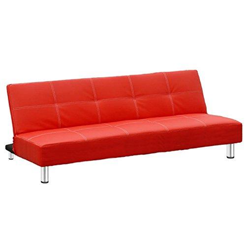 Bricok Havana Divano Letto 2 Posti Reclinabile in Ecopelle con Gambe in Metallo Cromato, 176.5 x 99 x 39.5 cm, Rosso