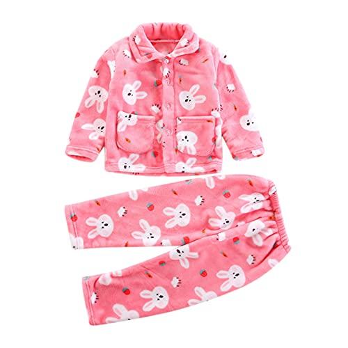 NBAA Kinder Baby Karikatur-Flanell-Heimservice-Anzug Jungen Mädchen Herbst und Winter Warmhalten Flanell Fleece Handtuch Bademantel Bademantel Weicher Pyjama Nachtwäsche Set (1-4 Jahre)