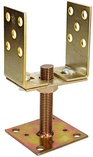 KOTARBAU® U-Pfostenträger 80 – 120 mm Pfostenträger Bodenhülse Pfosten Aufschrauben Träger Stützenfuß Bodenfuß Höhenverstellbar Platte Gold Verzinkt