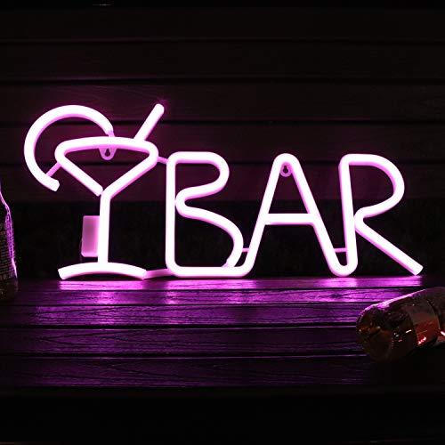 Kleuren veranderen BAR Tekenen Kleurrijke LED Neon Tekenen met Wijnglas Alfabet Letter Teken BAR Decor voor Pre-Lit Pub Bar Teken Licht, Nachtclub, Entertainment Area Wanddecoratie 21.6
