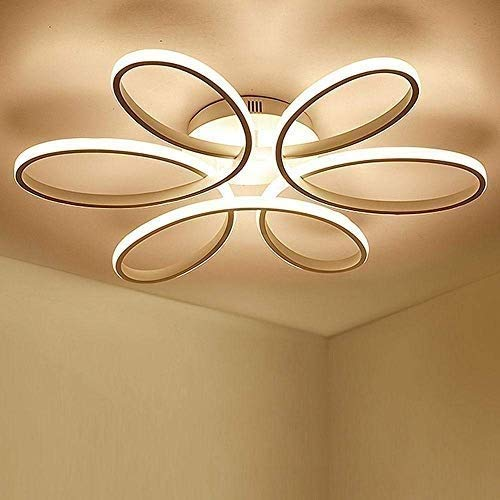 Lighting 93W D74cm-Dimming 3000K-6000K LED Flower Shape Ceiling Light Creative Acrylic Aluminum Lampshade Modern Elegant Matte White Ceiling Lamp Living Room Dining Room Bedroom Ceiling Light Indoor L 9