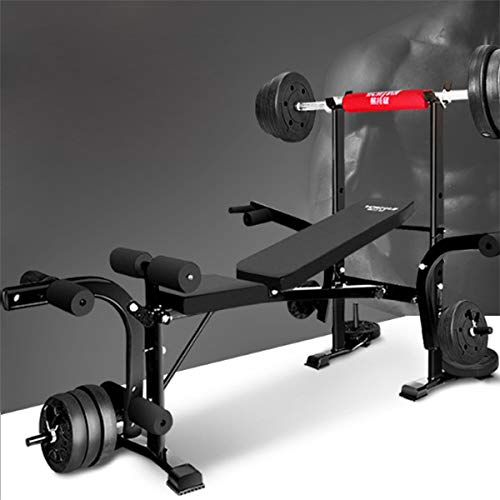 Sit Up Bench Adjustable Folding Weight Bench with Dip Station, Heavy Duty Multi Sit Up Workout Barbell Lifting Chest Press Home Gym Exercise Fitness,Black