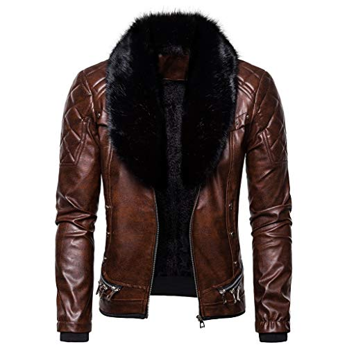 SPE969 Men's Zipper Removable Fur Collar Jacket,Leather Vintage Steam Pocket Punk Gothic Retro Coat Coffee