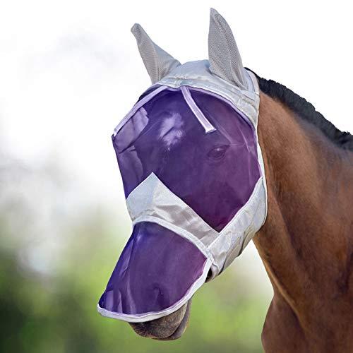 Harrison Howard CareMaster Máscara Anti-Moscas Protección con Orejas y Nariz Plata/Púrpura (M; COB)