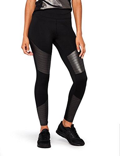 Marca Amazon - AURIQUE Mallas de Entrenamiento Tiro Alto con Paneles en Contraste Mujer, Negro (Black Foil), 42, Label:L